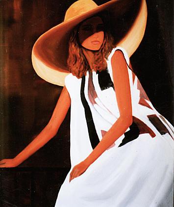 galerie peinture femme au chapeau